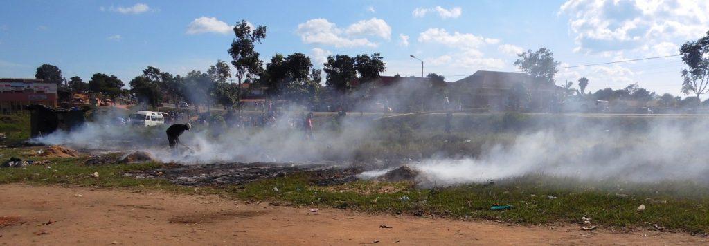 Verbrennung von Spänen und Sägemehl